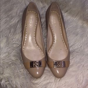 Coach nude patent leather wedges